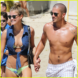 Max George: Shirtless in Barbados with Nina Agdal
