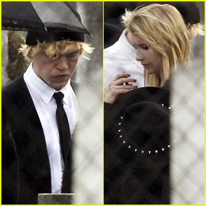 Emma Roberts & Evan Peters: 'AHS: Coven' Cemetery Scene