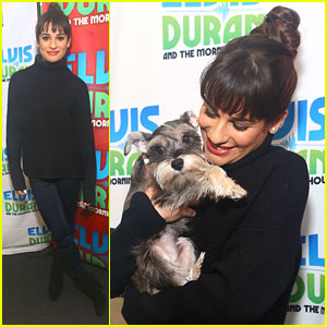 Lea Michele: Schnauzer Puppy Kisses at Elvis Duran Show