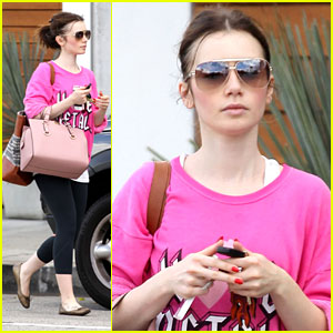 Lily Collins: Hot Pink for Personal Training Session