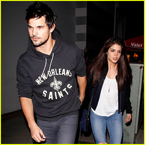 Taylor Lautner & Marie Avgeropoulos: Hollywood Dinner Date Duo!
