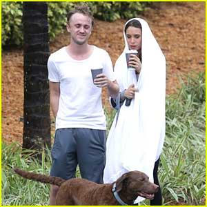 Tom Felton & Jade Olivia: Rainy Walk with Timber in Miami