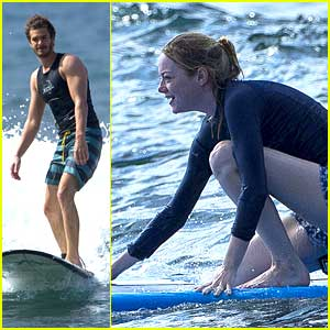 Andrew Garfield & Emma Stone: Surfing Lessons in Hawaii!