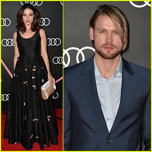 Crystal Reed Kicks Off the Golden Globes with Chord Overstreet!
