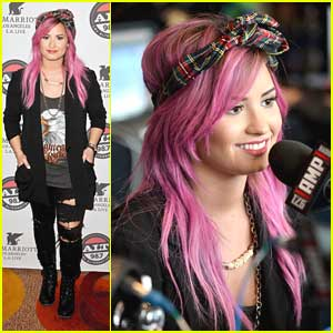 Demi Lovato: Pre-Grammy Interviews with Pink Hair