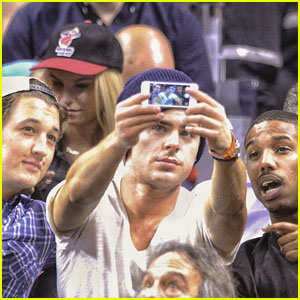 Zac Efron: Miami Heat Game with Michael B. Jordan & Miles Teller