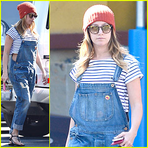 Ashley Tisdale Flashes Some Skin with Trendy Overalls!
