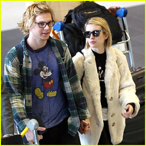 Emma Roberts & Evan Peters Arrive in Paris for Fashion Week