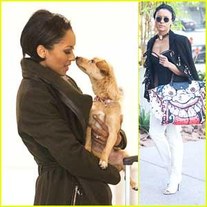 Kat Graham: Kisses From Pup Izzy at LAX