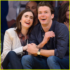 Lily Collins & Boyfriend Thomas Cocquerel Cozy Up Courtside at the Lakers Game!