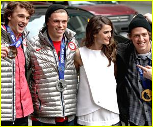 Nick Goepper, Gus Kenworthy, & Joss Christensen Hit Up 'Letterman' with Keri Russell
