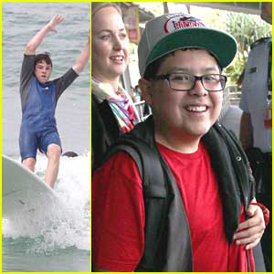 Nolan Gould Wipes Out While Surfing After Arriving in Sydney