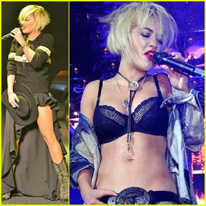 Rita Ora Bares Bra During Milan Performance