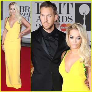 Rita Ora Supports Calvin Harris at BRIT Awards 2014