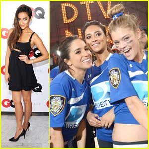 Shay Mitchell Celebrates DirecTV Beach Bowl Win!