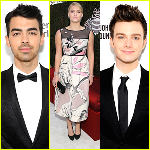 Joe Jonas & Chris Colfer: EJAF Oscars Party with Leven Rambin