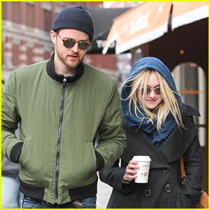Dakota Fanning Strolls With Jamie Strachan Before Gerardo Naranjo Filming Starts
