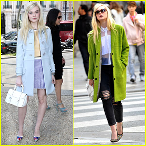 Elle Fanning Shops Miu Miu Before Runway Show in Paris
