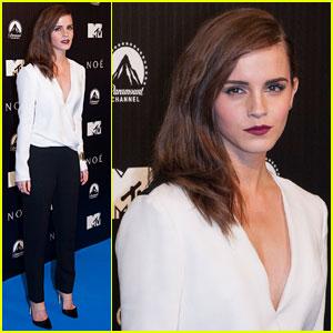 Emma Watson Sweeps Her Hair Aside for 'Noah' Premiere in Spain