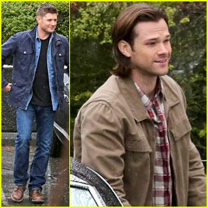 Jared Padalecki & Jensen Ackles Film Rainy Day 'Supernatural' Scenes
