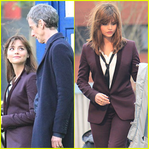 Jenna Coleman: Suit & Tie on 'Doctor Who' Set