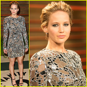 Jennifer Lawrence Wears Broken Glass to Vanity Fair Oscars Party 2014