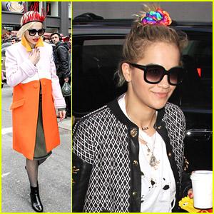 Rita Ora Wears Red Fringe Paper Crown in NYC