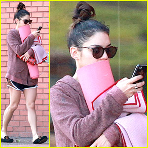 Vanessa Hudgens Almost Blends Into Brick Wall On Way to Yoga Class