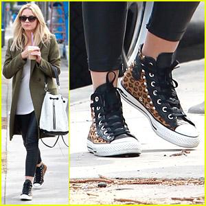 Ashley Benson Wears Cool Leopard Sneakers for Brunch