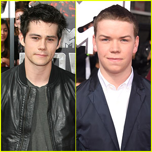 Dylan O'Brien & Will Poulter Run Towards MTV Movie Awards 2014