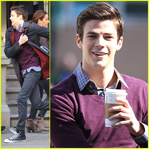 Grant Gustin Runs For His Life on 'The Flash' Set
