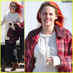 Kristen Stewart Sports Bright Red Hair on 'American Ultra' Set
