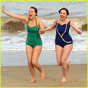 Saoirse Ronan Rocks Retro Swimsuit During 'Brooklyn' Beach Scene