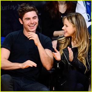 Zac Efron Attends Lakers Game with Halston Sage!