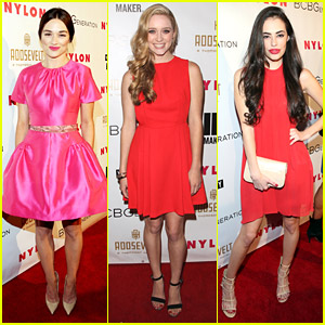 Crystal Reed & Greer Grammer Really Paint The Town Red For Nylon's Young Hollywood Party