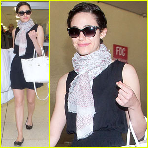 Emmy Rossum Makes it Back to L.A. After Missing Her Flight!