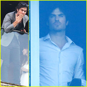 Ian Somerhalder Greets Brazilian Fans from Hotel Balcony!