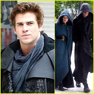 Liam Hemsworth & Jennifer Lawrence Wear Robes on 'Mockingjay Part 2' Set