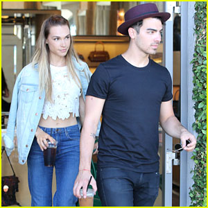 Joe Jonas & Blanda Eggenschwiler Run into Pal Cara Santana