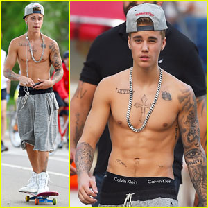 Justin Bieber Does Some Shirtless Skateboarding in Central Park with Usher!
