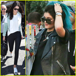 Kendall Jenner Arrives in Cannes, While Kylie Touches Up Her Blue Hair