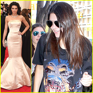 Kendall Jenner Can't Sit Down in Her Dress at MET Gala 2014