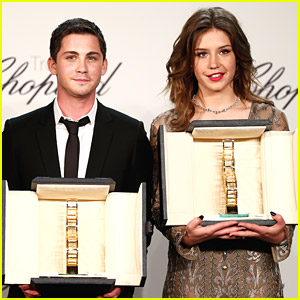 Logan Lerman & Adele Exarchopoulos Receive Troph�e Chopard at Cannes 2014