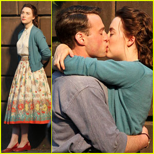 Saoirse Ronan & Emory Cohen Share a Kiss on the Set of 'Brooklyn'!