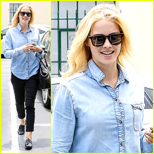 Claire Holt is Chic in Chambray After Teen Choice Nomination