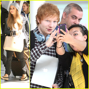 Ed Sheeran & Ariana Grande Take Off From Toronto After MMVAs