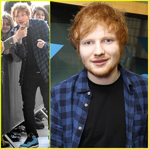Ed Sheeran Takes Silly Selfies with Fans Outside UK's Kiss FM