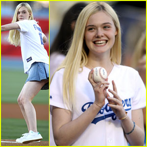 Elle Fanning is a Natural! Throws Out First Pitch at Dodgers Game!