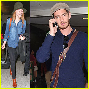Emma Stone & Andrew Garfield Land Separately at LAX Airport