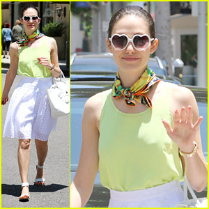 Emmy Rossum Celebrates National Sunglasses Day with Heart-Shaped Rims